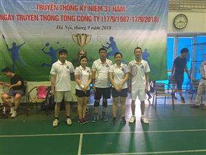 Đội cầu lông Công ty MHDI 10 đã xuất sắc giành 02 giải ba chung cuộc Giải cầu lông kỷ niệm 31 năm ngày truyền thống TCT (17/9/1987-17/9/2018)